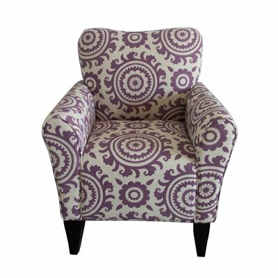 Deverell Printing Armchair Upholstery: Purple / White