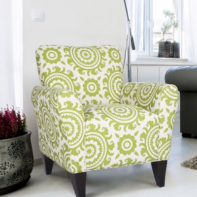 Deverell Printing Armchair Upholstery: Green / White
