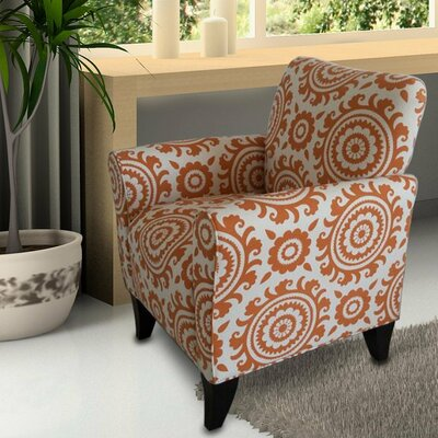 Carrington Printing Arm Chair Upholstery: Orange / White