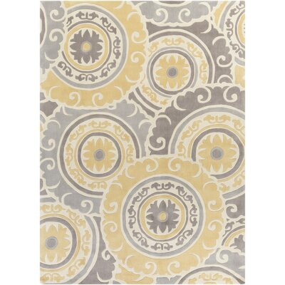 Tripolia Hand-Tufted Gold/Ivory Area Rug Rug Size: 8 x 11
