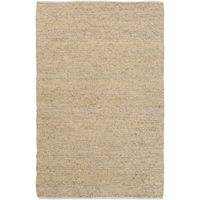 Glass Hand-Woven Beige Area Rug Rug Size: Rectangle 5 x 76