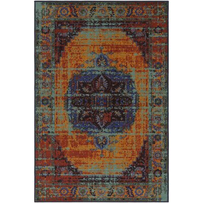 Prasad Blue/Orange Area Rug Rug Size: Rectangle 5 x 8