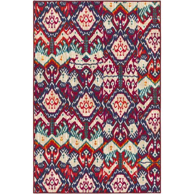 Prasad Red/Beige Area Rug Rug Size: Rectangle 5 x 8