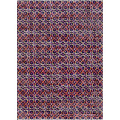 Fredonia Geometric Pink/Orange Area Rug Rug Size: 53 x 73