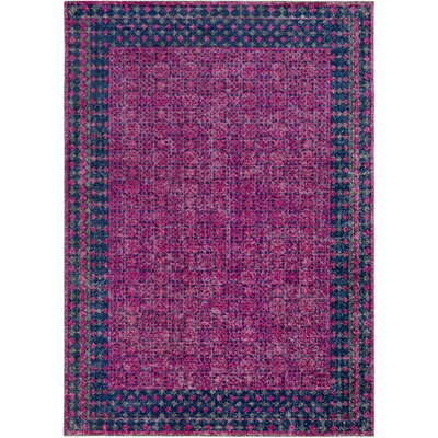 Fredonia Oriental Pink/Blue Area Rug Rug Size: Rectangle 53 x 73