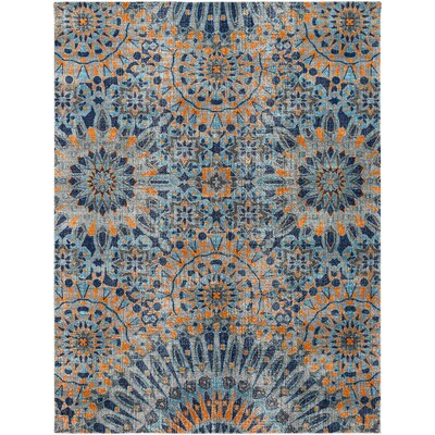 Fredonia Blue/Orange Area Rug Rug Size: Rectangle 7'10