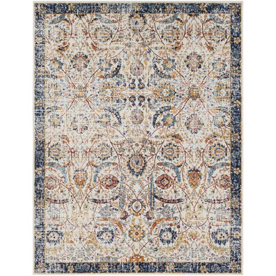 Hillsby Beige/Blue Area Rug Rug Size: 93 x 126
