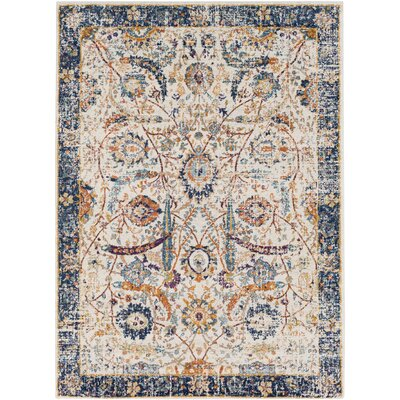 Hillsby Beige/Blue Area Rug Rug Size: Rectangle 53 x 73