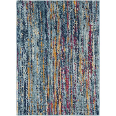 Andover Blue/Orange Area Rug Rug Size: 53 x 73