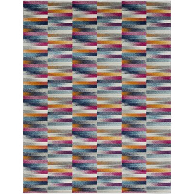 Andover Orange/Blue Area Rug Rug Size: 53 x 73