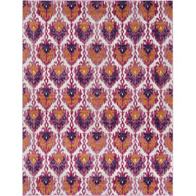Hillsby Saffron/Pink Area Rug Rug Size: Rectangle 93 x 126