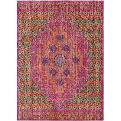 Randhir Pink/Orange Area Rug Rug Size: 53 x 73