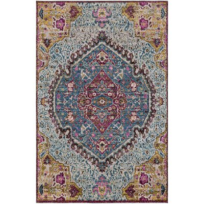 Nichole Oriental Blue/Pink Area Rug Rug Size: Rectangle 53 x 73