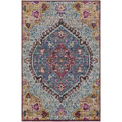 Nichole Oriental Blue/Pink Area Rug Rug Size: 53 x 73