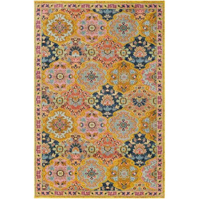Nichole Oriental Yellow Area Rug Rug Size: Rectangle 53 x 73