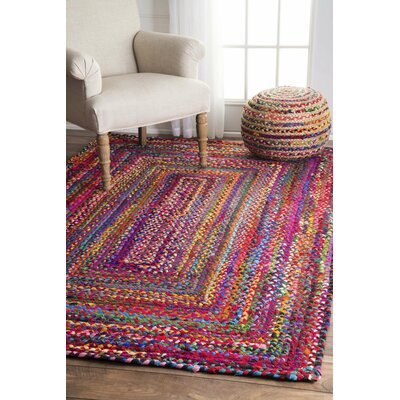 Khan Hand-Braided Pink Area Rug Rug Size: Oval 4 x 6