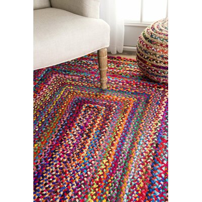 Khan Hand-Braided Pink Area Rug Rug Size: Runner 2'6