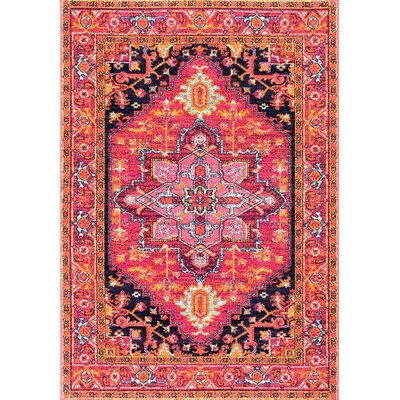 Christophe Blooming Pink/Orange Area Rug Rug Size: Rectangle 67 x 9
