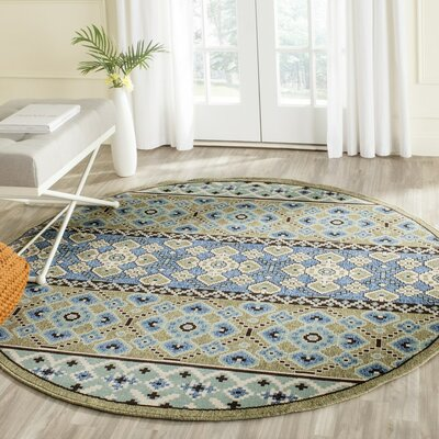 Serrano Green / Blue Area Rug Rug Size: Round 67