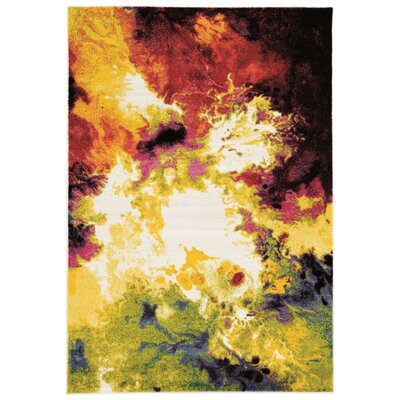 Amber Yellow/Red Area Rug Rug Size: 5 x 76