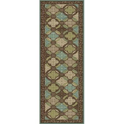 Juliet Brown/Green Area Rug Rug Size: Runner 23 x 77