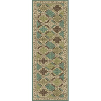 Juliet Ivory/Green Area Rug Rug Size: Runner 23 x 77