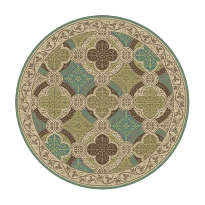 Juliet Ivory/Green Area Rug Rug Size: Round 53