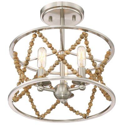 Emeraude 3-Light Semi Flush Mount