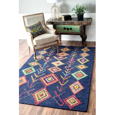 Darvell Hand-Tufted Blue Area Rug Rug Size: Rectangle 9 6 x 13 6