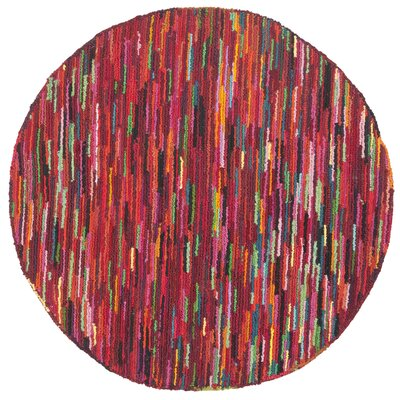 Sergio Pink Geometric Area Rug Rug Size: Round 4