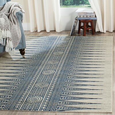 Elson Ivory/Blue Area Rug Rug Size: Rectangle 51 x 76