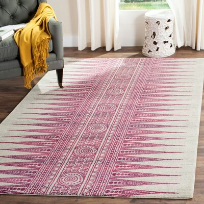 Elson Southwestern Ivory/Fuchsia Area Rug Rug Size: Rectangle 67 x 9