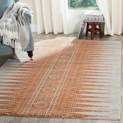 Elson Ivory/Orange Area Rug Rug Size: 4 x 6