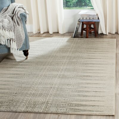 Elson Rectangle Ivory/Silver Area Rug Rug Size: 4 x 6