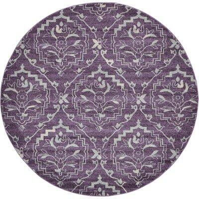 Ezequiel Purple Area Rug Rug Size: Round 8