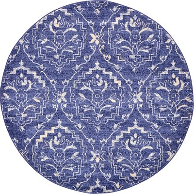 Ezequiel Blue Area Rug Rug Size: Round 6