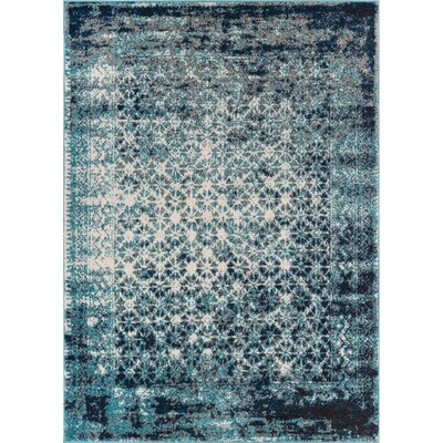 Allentow Modern Distressed Royal Blue Area Rug Rug Size: 53 x 73