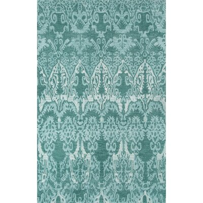 Allen Hand-Tufted Teal Area Rug Rug Size: 36 x 56