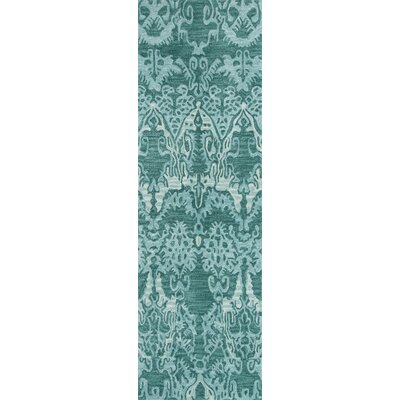 Allen Hand-Tufted Teal Area Rug Rug Size: Runner 23 x 76