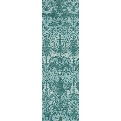 Allen Hand-Tufted Teal Area Rug Rug Size: Runner 23 x 76