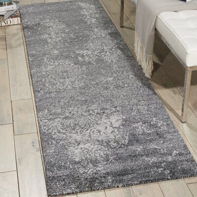 Shian Hand-Knotted Gray/Ivory Area Rug Rug Size: Runner 23 x 8