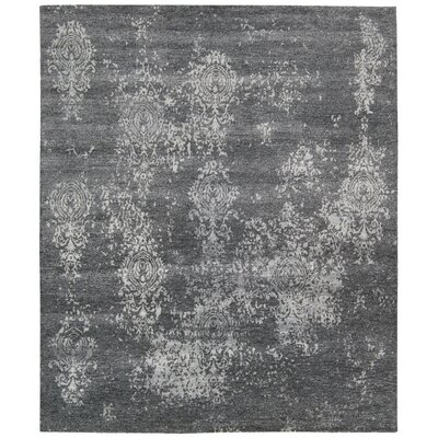 Shian Hand-Knotted Gray/Ivory Area Rug Rug Size: Rectangle 56 x 75