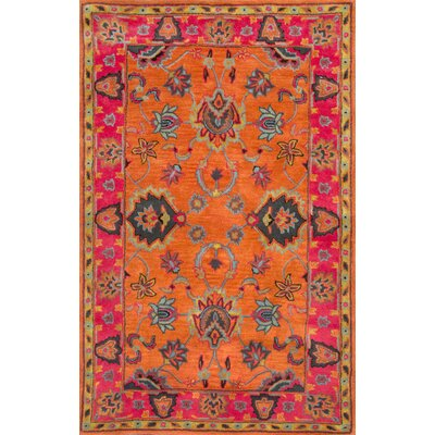 Devona Orange Montesque Area Rug Rug Size: Round 6