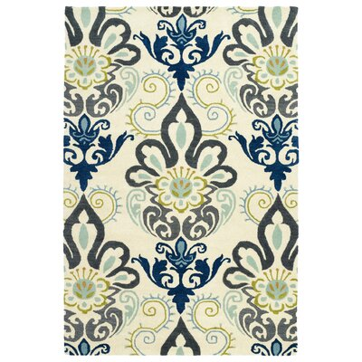 Rachida Hand Tufted Blue/Gray Area Rug Rug Size: 36 x 56