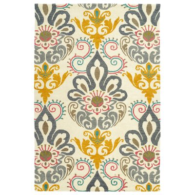 Rachida Hand Tufted Gray/Yellow Area Rug Rug Size: 2' x 3'