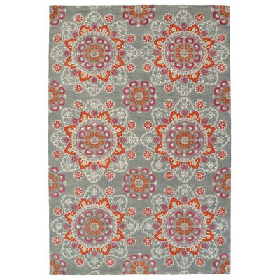 Rachida Hand Tufted Gray/Orange Area Rug Rug Size: Rectangle 36 x 56