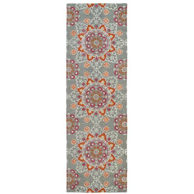 Rachida Hand Tufted Gray/Orange Area Rug Rug Size: Runner 26 x 8