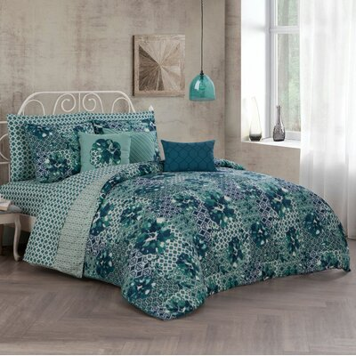 Alfonse 10 Piece Reversible Bed in a Bag Set Size: Queen, Color: Teal