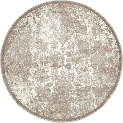 Jacobson Gray Area Rug Rug Size: Round 4