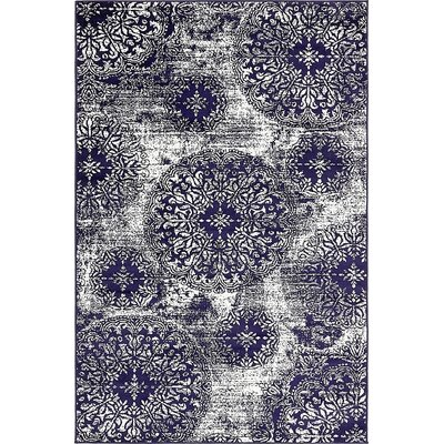 Ford Navy Blue Area Rug Rug Size: 4 x 6